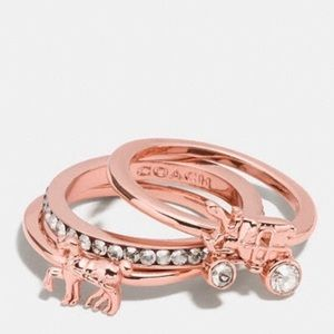 COACH Horse And Carriage Ring Set (Rose Gold)